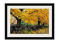 秋の木々石メープル - ホ木製フレーム額装ポスター 絵画 ホーム壁の装飾 額縁 木枠額装絵画 壁画 40x30cm 黒い枠