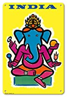 22cm x 30cmヴィンテージハワイアンティンサイン - インド - ヒンドゥー教の神ガネーシャ - ビンテージな航空会社のポスター によって作成された ジャン・カルリュ c.1959