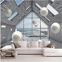 Xbwy 写真の壁紙3D建築空間の風景ステレオスフィア壁画リビングルームテレビソファーの背景-400X280Cm