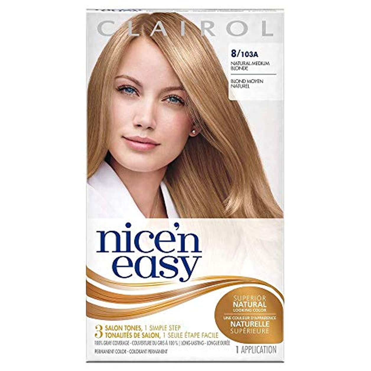 姿勢流小間Clairol Nice N Easy, Permanent Hair Color, Natural Medium Neutral Blonde #103A - Kit (並行輸入品)