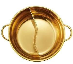 金色のよくばり 2食鍋 28cm 2種類の鍋を同時に調理可能 仕切り鍋 ステンレス製 IH対応 2654301