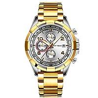 RORIOS 腕時計 メンズ クロノグラフ腕時計 多針アナログ ウオッチ 夜光 日付表示 おしゃれ ビジネス カジュアル メタル男性 日本製クォーツムーブメント ステンレスバンド 日本語説明書付き 一年保証 ゴルドー