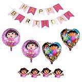ドーラ 誕生日 飾り付け ドーラといっしょに大冒険 子供 女の子 キャラクター 可愛い ピンク 面白い happy birthday ガーランド バルーン 風船 ハート ケーキトッパー 11枚セット