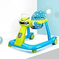 【DEARGENA】手押し車 ベビーウォーカー 6ヶ月以上の赤ちゃん用多機能、横転防止、足がぶつかりません、調整可能な速度 (青+グリーン)