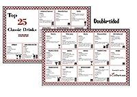 ラミネート加工バーカクテルミックスドリンクレシピチャート–Top 25クラシックDrinks Edition–Make The Perfect Drink各時間。