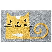 Chihen 滑り止め敷物かわいい動物吸収性マット漫画子供カーペットウサギ猫敷物用浴室入り口リビングルーム寝室 (Color : Cat, Size : 45X65 cm)