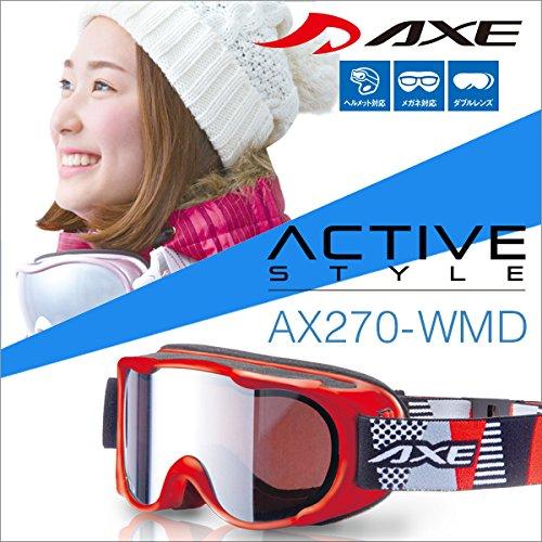 『50ga-021-ca』 16-17 アックス AX270-WMD RE スノーボードゴーグル スキー ゴーグル AXE スノーゴーグル 2016-2017 ダブルレンズ メガネ対応 ヘルメット対応 Lot no.103