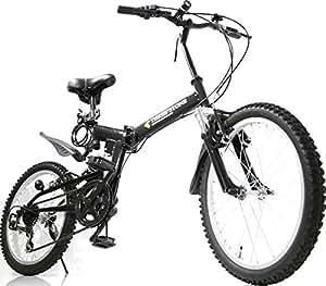 フルサスペンション マウンテンバイク 20インチ 折りたたみ自転車 AJ-01-T MTB シマノ6段外装ギア ダブルサス (ブラック) …