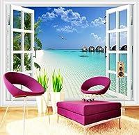 Wkxzz カスタム地中海窓風景写真撮影の背景ホーム壁紙壁装飾リビングルーム3D壁画-120X100Cm