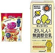 【セット買い】ケロッグ フルーツグラノラ 朝摘みいちご 600g×6袋 + キッコーマン飲料 おいしい無調整豆乳 1L×6本