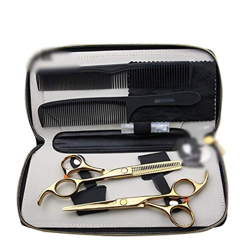 集める起きるミンチHairdressing 5.5インチの理髪ゴールデンはさみ、平らな+歯のせん断セットの毛の切断はさみのステンレス製の理髪師のはさみ (色 : ゴールド)