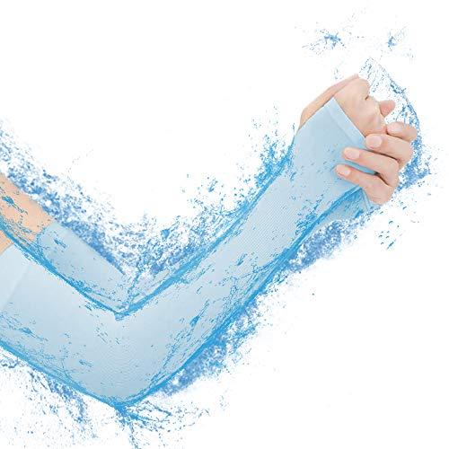 SZsic 冷感 アームカバー UPF50+ UV対策 吸汗速乾 腕カバー 5色 滑り止め 日焼け止め スポーツカバー 紫外線対策【男女兼用】 (ライトブルー)