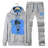 SemiAugust(セミオーガスト)メンズ 秋冬  スウェット セット ジャージ 可愛いプリント カジュアルアウトウェア 男性用 カラーはグレー サイズは3XL