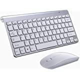iBod Wireless Keyboard Mouse Combo Wireless Bluetooth Keyboard Mouse Cordless Keyboard and Mouse Set Ultra Slim Keyboard Silv