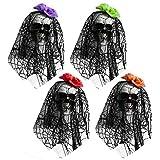 ゴシレ Gosear 4PCSハロウィーンフェスティバルパーティーのためのレーススカーフロープと自然に現実的な吊り泡の頭蓋骨の骨のパーティー幽霊の家のバーの装飾