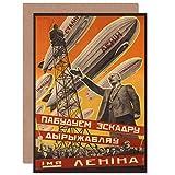 POLITICAL MILITARY AIRSHIP LENIN SOVIET UNION AD GREETINGS CARD 政治飛行船レーニンソビエト連合広告挨拶
