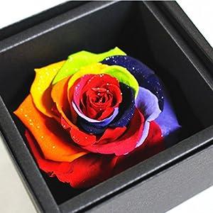 アモローサ プリザーブドフラワー セブンラック バラ直径 約8.5cm 箱サイズ 約よこ たて10.7cm 高さ7.6cm