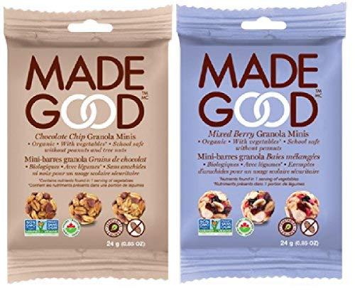 Good Granola Minis Variety Bundle、リバーサイドナチュラルフーズ メイドグッド オーガニックグラノーラ 24gx20袋(ミックスベリーとチョコレートチップス各10個、合計20個)