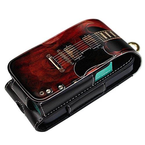 Evis Club iQOS アイコス 専用 レザー ケース 多収納 & ベルトフック 付 [ ギター コレクション Gibson 4113 ] 電子たばこ iQOS デザイン ケース 保護 ポーチ カバー