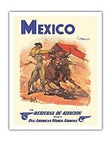メキシコ - 準メキシカナ航空 - パンアメリカン航空 - 闘牛士 - ビンテージな航空会社のポスター によって作成された カルロス・ルアノ・ロピス c.1950 - アートポスター - 28cm x 36cm