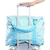 【Cat Hand(キャット ハンド)】2WAY 折り畳み バッグ キャリー スーツケース の持ち手に通せる 旅行 の サブバッグ に 最適 ポップ な ストライプ 水玉 柄 7色展開 (スカイブルー/ストライプ柄)