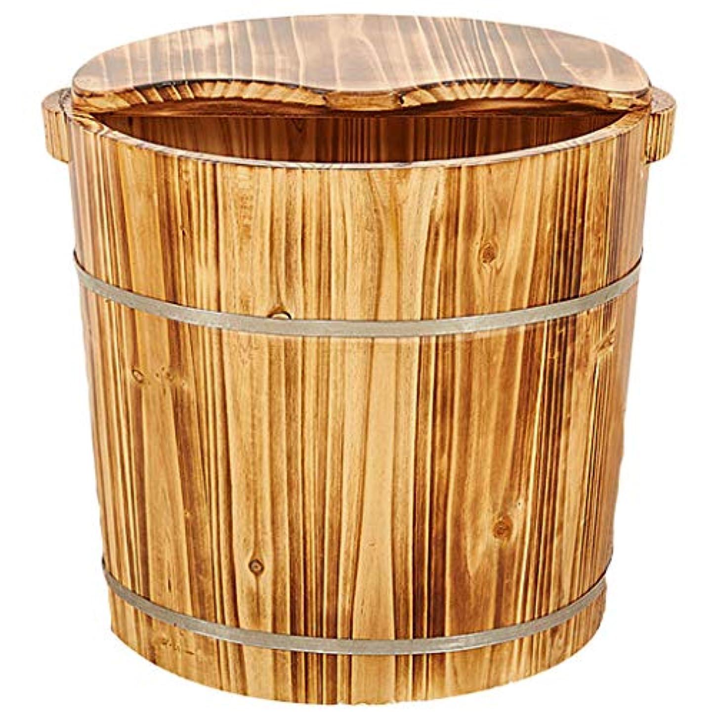 蒸し器溝表現森の中で足洗浄足浴木材マッサージ足湯ペディキュアバレル高い深さは、蓋予算でビーチ足浴槽が水没します