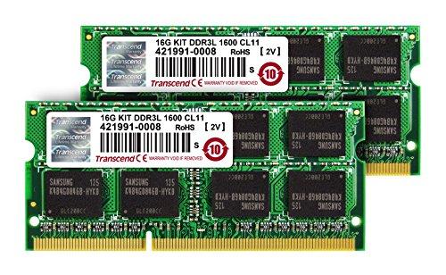 Transcend ノートPC用メモリ PC3L-12800 DDR3L 1600 8GB×2 1.35V(低電圧) - 1.5V 両対応 204pin SO-DIMM kit TS1600KWSH-16GK