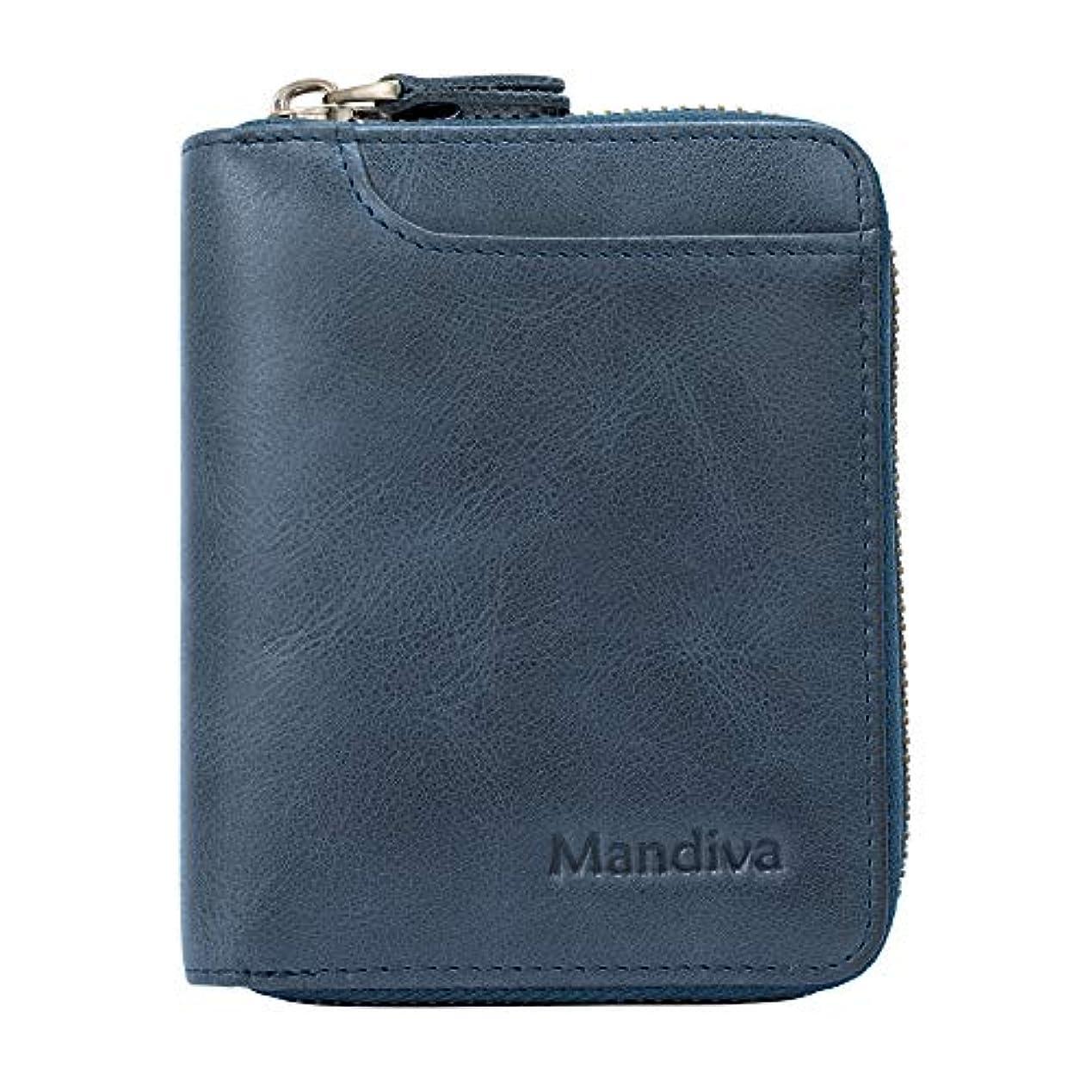 ディベート長さ端末Mandiva 財布 カードケース 本革 メンズ 軽量小銭入れ コンパクト ラウンドファスナー