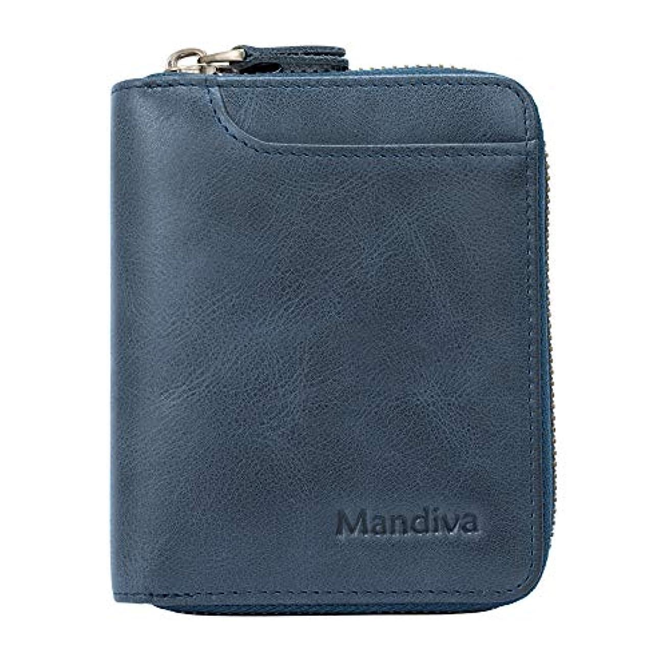 対立バスト直接Mandiva 財布 カードケース 本革 メンズ 軽量小銭入れ コンパクト ラウンドファスナー