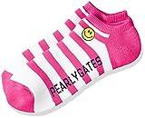 (パーリーゲイツ)PEARLY GATES [ メンズ ] 定番 シンプル スマイル ロゴ パイル ボーダー柄 アンクル ソックス 053-7186103 053-7186103 091 ホワイト X ピンク FR