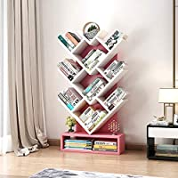 ZR- 木製の本棚ツリーストレージシェルフのフロア立ち上がる本棚オーガナイザー (色 : Pink+white)