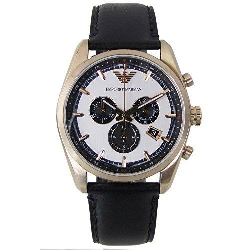エンポリオ アルマーニ 腕時計 EMPORIO ARMANI ゴールド×ブラック クロノグラフ レザー メンズ AR6006並行輸入品