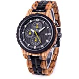 Bewell 木製 腕時計 メンズ 日本製クオーツ クロノグラフ機能 日付き 夜光 木製腕時計 男性 誕生日プレゼント (ゼブラウッド)