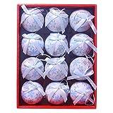 Partyforte Christmas fzf18-7512bl 12pc 75mm Full Print Christmas Tree Baubles - Blue Snowflake