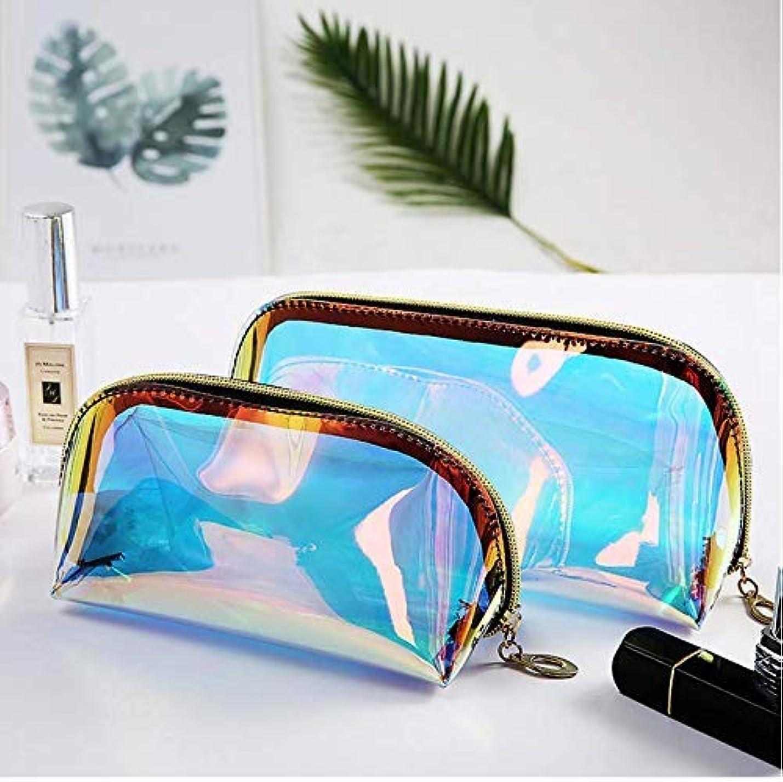 割り込み債務者里親YiTongの2つのホログラフィックメイクアップバッグ虹色の化粧品ケースホログラムクラッチトイレタリーポーチハンディオーガナイザー透明な女性のイブニングバッグ(大小)