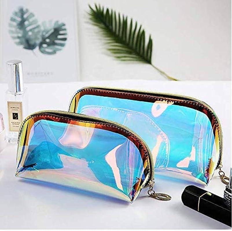 外交悪党ストリップYiTongの2つのホログラフィックメイクアップバッグ虹色の化粧品ケースホログラムクラッチトイレタリーポーチハンディオーガナイザー透明な女性のイブニングバッグ(大小)