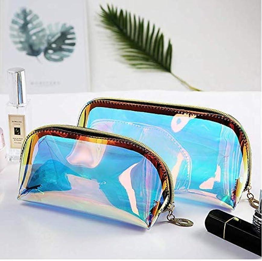 宣教師前文ちょっと待ってYiTongの2つのホログラフィックメイクアップバッグ虹色の化粧品ケースホログラムクラッチトイレタリーポーチハンディオーガナイザー透明な女性のイブニングバッグ(大小)
