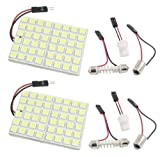 Cutequeen Trading 2PCS White 5050 48SMD 48-SMD LED Panel Dome Light Lamp + T10 BA9S Festoon Adapter (pack of 2) [並行輸入品]