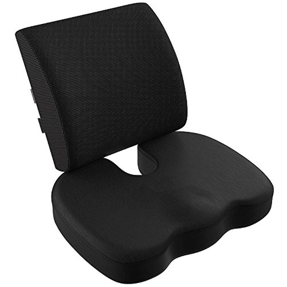 凝縮する満たすバルコニーVIXA 低反発クッション セット ヘルスケア 座布団 背もたれ 腰痛 腰まくら クッション 坐骨神経痛 姿勢矯正 骨盤サポート オフィス 椅子 車用 (メッシュ)