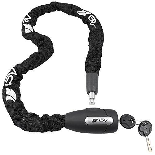BV(ビーブイ) 自転車 鍵 チェーンロック バイクロック110cm スペアキー付き (鍵穴カバー付き)頑丈 盗難防止