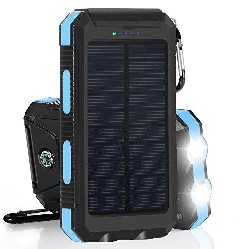 NexGadget ソーラーチャージャー 10000mAh 超大容量モバイルバッテリー旅行・ハイキング・災害時に活躍 ブルー/オレンジ (ブルー)