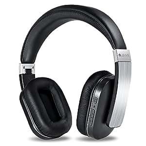 AudioMX Bluetooth ワイヤレスヘッドホン 密閉型 内蔵マイク オーバーヘッド 20時間連続稼働 (シルバー)