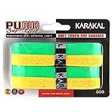 Karakal テニスラケット 交換用グリップ Duo Super PU 2個パック イエロー/グリーン