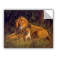 "ArtWall Kilian's Lion And Cub Removable Wall Art Mural, 14""x 18"" [並行輸入品]"