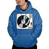 ポケット パーカー スウェットパーカー ターンテーブル 音楽 レコード Dj ルームウェア 長袖 トレーニング ストレッチ ブルー M