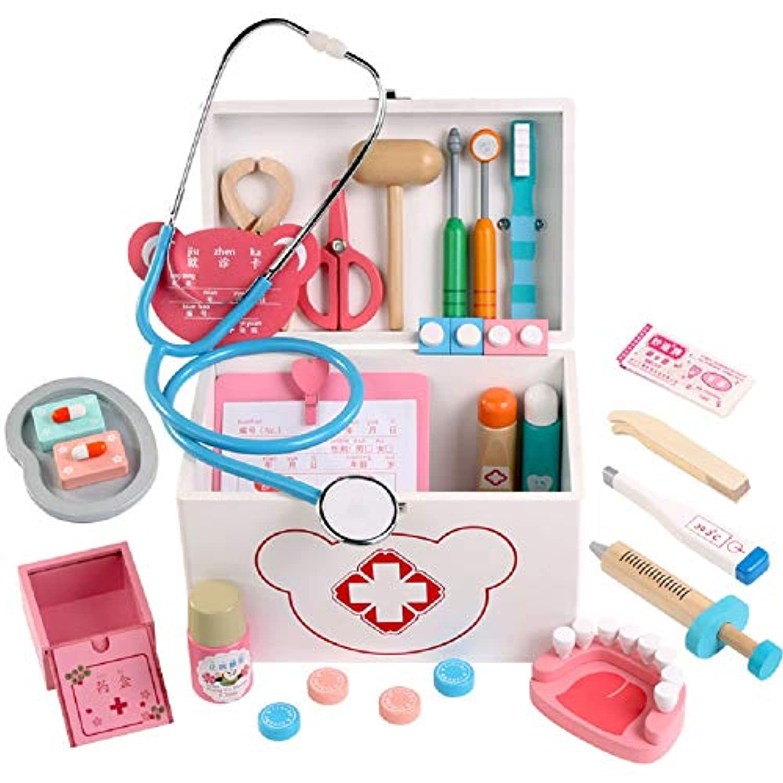 Zhenyu ベビー おもちゃ プレイハウス 木製 おもちゃ シミュレーション 薬 キャビネット ボックス 医師 おもちゃ 人気のゲーム 誕生日プレゼント One size ホワイト Zhen-1