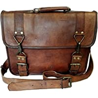 "Madosh,Brown Genuine Stylish Leather Briefcase Portfolio Messenger Laptop Office Bag 15"""