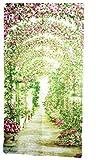 O'z star のれん 暖簾 薔薇 の 花 柄 ロング ローズ ガーデン パーテーション 仕切り 幅 85 cm 丈 170 cm(バラ)