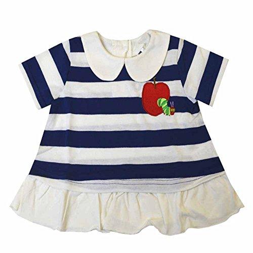 はらぺこあおむし Tシャツ 半袖 ボーダー柄 夏物 女の子 fpo-th3151-9056 95cm ネイビー