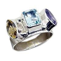 jewelryonclickアメジスト、シトリン&ブルートパーズシルバーリングハンドメイドバンドでサイズ5,6,7,8,9,10,11,12